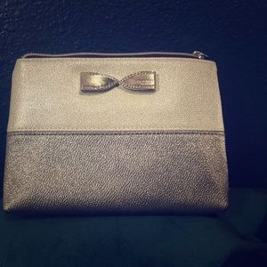 Silver Victoria's Secret makeup bag